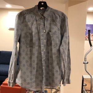 Loft blouse Size M blue striped polka dots